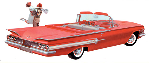 The somewhat toned-down 1960 Chevrolet was the first car to see Bill Mitchell's influence.